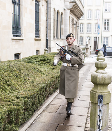 Grand Duchy of Luxembourg, Luxembourg- January 03,2017: The guard goes to the post Editorial