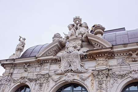 decorative balcony: Dresden,Germany-January 4,2017:Zwinger-palace and park complex of four buildings.The beginning was laid in 1709