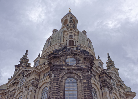 Dresden,Germany-January 4,2017: Frauenkirche is a Lutheran church. It was erected on the orders of Augustus the Strong (1670-1733)