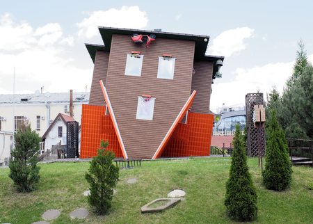 Rostov-on-Don, Russia - May 27,2017:The house, turned upside down by the foundation in the shopping center Horizon