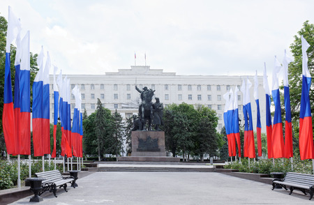 Rostov-on-Don, Russia - May 28,2017: Monument First of horsemen-sculptor E. Vucetich. Dedicated to the heroes of the Civil War, Rostov liberated from the White Guards in 1920