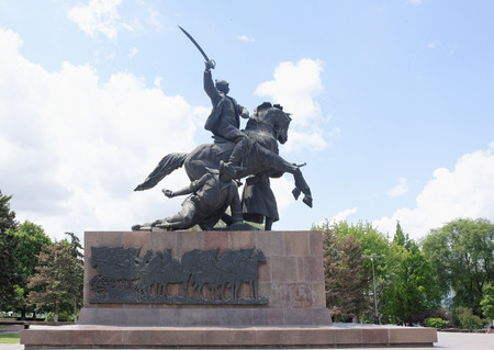 army face: Rostov-on-Don, Russia - May 28,2017: Monument First of horsemen-sculptor E. Vucetich. Dedicated to the heroes of the Civil War, Rostov liberated from the White Guards in 1920