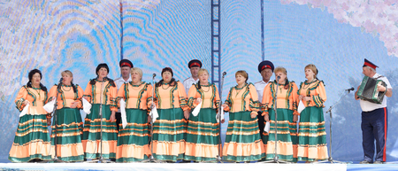 Razdorskaya,Rostov Region, Russia- June 04; 2017: Group of elderly Cossacks singing at the Trinity