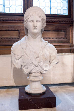Paris,France- May 03,2017: Bust of feminine deity, called Juno de Cranvelle.Collections royales francaises.Louvre