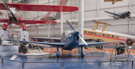 Le Bourget, Paris, France- May 04,2017: Caudron C.635 Simoun in the Museum of Astronautics and Aviation Le Bourget Editorial