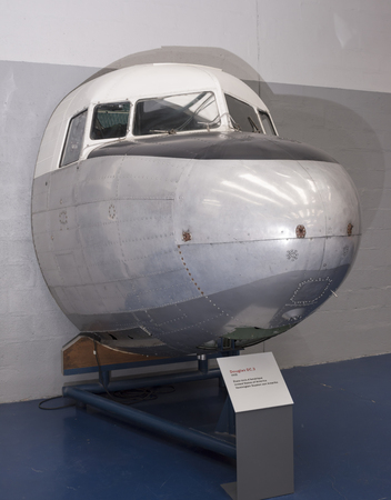 Le Bourget; Paris; France- May 04; 2017: Cabin Douglas DC.3 (1935) in the Museum of Astronautics and Aviation Le Bourget Editorial
