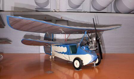 Le Bourget; Paris; France- May 04; 2017: Mignet HM 14 Pou du ciel(1934) in the Museum of Astronautics and Aviation Le Bourget