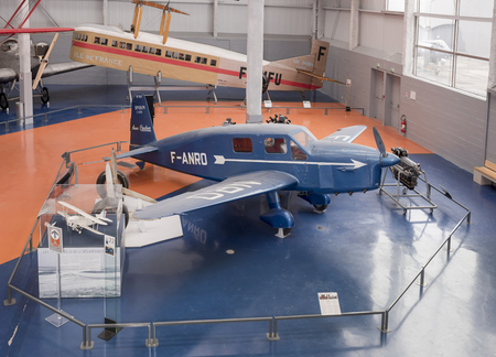 Le Bourget, Paris, France- May 04,2017: Caudron C.635 Simoun in the Museum of Astronautics and Aviation Le Bourget                     Le Bourget, Paris, France- May 04,2017: Caudron C.635 Simoun in the Museum of Astronautics and Aviation Le Bourget