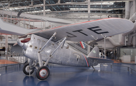 Le Bourget; Paris; France- May 04; 2017: Dewoitine D.530 (1937) in the Museum of Astronautics and Aviation Le Bourget Editorial
