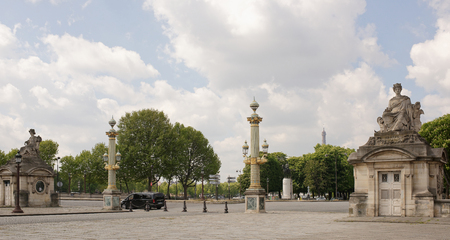 Paris,France- April 29, 2017: By Concorde moving vehicles. The area is visited by tourists. Statues of cities: Bordeaux; Nantes