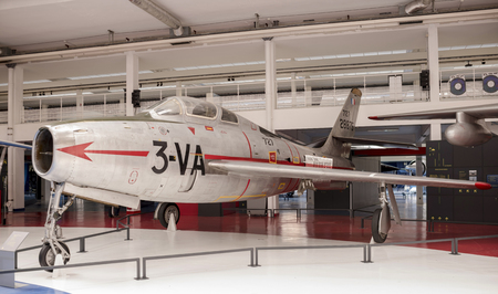 Le Bourget, Paris, France- May 04,2017: Airplane fighter Republic F-84F Thunderstreak (1950) in the Museum of Astronautics and Aviation Le Bourget                  Le Bourget, Paris, France- May 04,2017: Dassault Mirage 2000-01 (1978) in the Museum of Ast