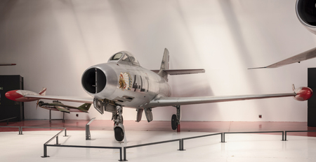 Le Bourget, Paris, France- May 04,2017: Airplane fighter Dassault MD-450 Ouragan (1949) in the Museum of Astronautics and Aviation Le Bourget                  Le Bourget, Paris, France- May 04,2017: Dassault Mirage 2000-01 (1978) in the Museum of Astronau Editorial