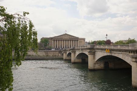 Paris,France- April 29, 2017: View of the National Assembly. Across the bridge is the pedestrians