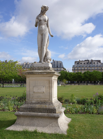 Paris,France- April 30, 2017: The Jardin des Tuileries. Louis Auguste Lévêque : Nymphe