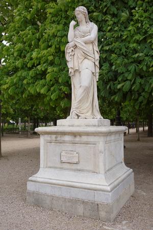 Paris,France- April 30, 2017:Véturie ou le Silence ou Vestale (1695), a statue by Pierre II Legros, in the Jardin des Tuileries Véturie was a Roman matron, the mother of General Gaius Marcius Coriolanus Editorial
