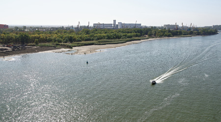 The flow of water in the river Don during a strong wind. Rostov-on-Don Reklamní fotografie