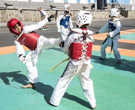 pounding head: Rostov-on-Don, Russia- September 16,2017: Young athletes demonstrate success in martial arts in front of the audience at the celebration of the day of the city of Rostov-on-Don