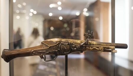muzzleloader: Paris; France- May 02; 2017: Wheellock pistol made for emperor Charles Quint. Museum of Orsay
