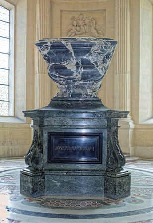 Paris; France- May 02; 2017: The sarcophagus of Joseph Bonaparte in the Cathedral of St. Louis of the Invalides. Joseph Bonaparte was the elder brother of Napoleon I of France. He was King of Naples,Sicily and Spain.