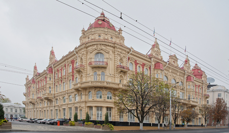 Rostov-on-Don,Russia - October 21,2017: The building of the City Duma, 1899. Architect A. Pomerantsev. Nearby there are cars and pedestrians