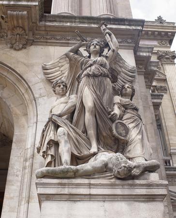 Paris; France- May 01; 2017: Sculpture at the Opera Garnier - Drama, by Jules-Joseph Perrault