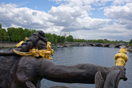 Paris; France-May 02; 2017: View of the Pont Alexandre lll.Nymphs of the Seine