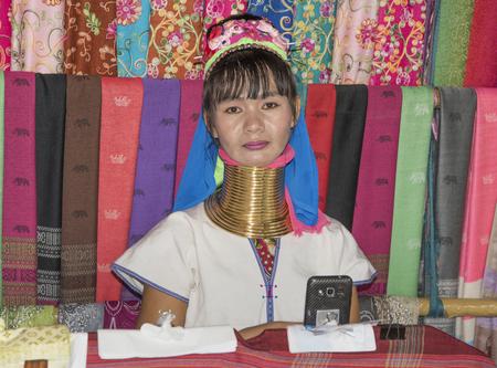 Pattaya,Thailand- November 21;2017: Village Karen tribe,famous long-necked women.The woman selling souvenirs