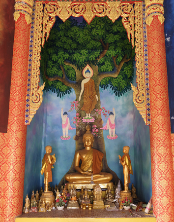 Kanchanaburi,Thailand- February 19,2018: Temple of the cave of the tiger (Wat Tham Khao Noi).Statue