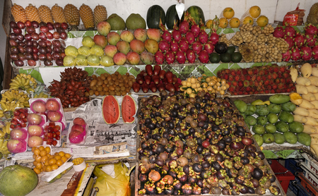 Pattaya,Thailand- February 27,2018: Tropical fruits on the market Editorial