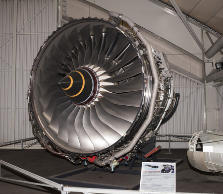 Le Bourget, Paris, France- May 04,2017: Turbeactor ADOUR(1968)- two-shaft low bypass turbofan aircraft engine in the Museum of Astronautics and Aviation Le Bourget