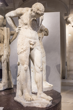 Paris; France- May 03; 2017: Satyrs in Atlante. Marble.Rome; imperial era. Louvre