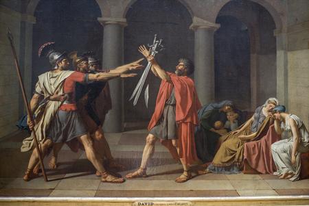 Paris; France- May 03; 2017: David (Jacques Louis).Oath of the Horatii. 1784. Louvre Redakční