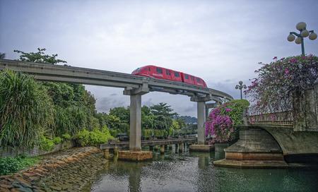 Singapore, Singapore- August 08, 2018: Monorail train on Sentosa Redakční