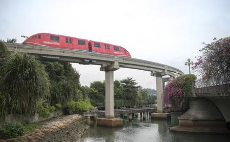 Singapore, Singapore- August 08, 2018: Monorail train on Sentosa