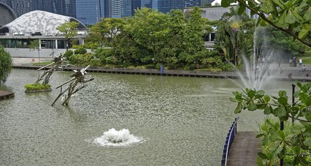 Singapore, Singapore- August 07, 2018: View of Dragonfly Lake.On the waterfront people walk