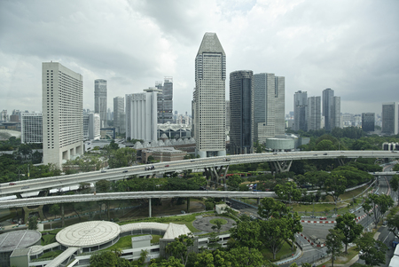 Singapore August 06, 2018: View of the city from Singapore Flyer