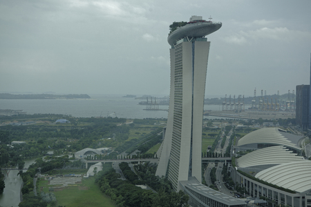 Singapore, August 06, 2018: View of the Marina Bay Sands Hotel from Singapore Flyer