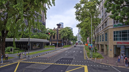 Singapore, Singapore- August 09, 2018: Ophir Rd.On the streets of moving vehicles and pedestrians Editorial