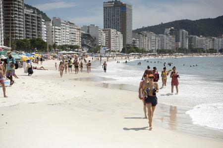 Rio de Janeiro, Brasil- March 05,2019: Citizens swimming in the ocean and walking along Copacabana beach