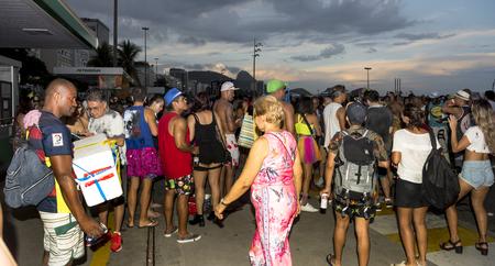 Rio de Janeiro, Brasil- March 05,2019: Festivities during the carnival on Copacabana