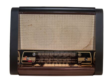 Mid 20th Century Radio Receiver - Isolated on White