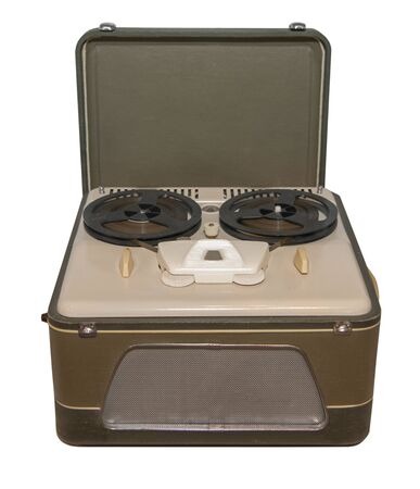 Reel tape recorder of the mid-20th century, made on radio tubes, made in the USSR - isolated on white