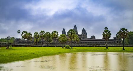 Angkor Wat is the largest temple in the world (Cambodia, 2019). It is raining Stock fotó - 130337489
