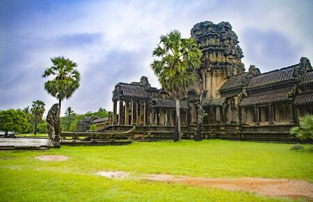 Angkor Wat is the largest temple in the world (Cambodia, 2019). It is raining Stock fotó - 130337491