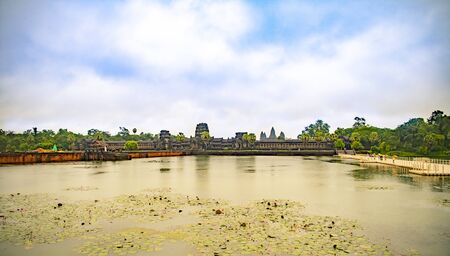 Angkor Wat is the largest temple in the world (Cambodia, 2019). It is raining Stock fotó - 130337505