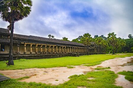 Angkor Wat is the largest temple in the world (Cambodia, 2019). It is raining Stock fotó - 130337531