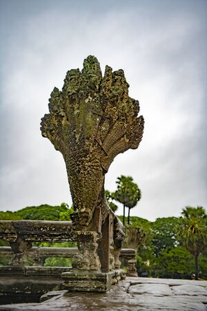 Angkor Wat is the largest temple in the world (Cambodia, 2019). It is raining Stock fotó - 130337533