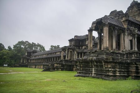 Angkor Wat is the largest temple in the world, it rains in the rainy season Stock Photo