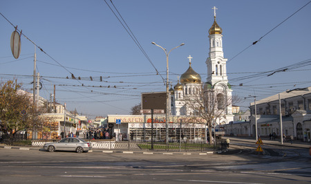 Rostov-on-Don; Russia, October 26, 2019: Rostov Cathedral of the Nativity of the Blessed Virgin. Citizens walk near the cathedral