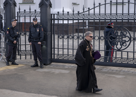 Rostov-on-Don;Russia October 27 2019:The head of the Russian Orthodox Church consecrated the Rostov Cathedral of the Nativity of the Blessed Virgin Mary. Priest with awards